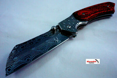 "8"" Damascus Etch TACTICAL Spring Assisted Open Pocket Knife Wood CLEAVER RAZOR"