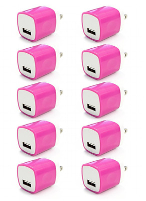 100x 1A Pink USB Wall Charger Plug Home Power Adapter FOR iPhone 5 6 Samsung