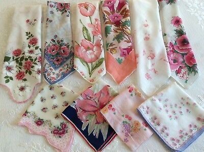 Vintage Handkerchiefs - 10 Lovely Hankies Featuring Shades Of Pink