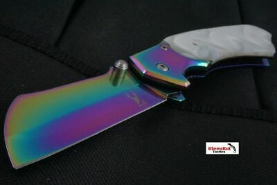 "8"" TACTICAL Spring Assisted Open Pocket Knife CLEAVER RAZOR Rainbow Pearl Inlay"