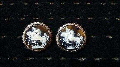 Vintage Wild Horses Cameo Gold Cufflinks