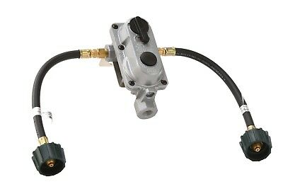 """2-Stage Auto Changeover Propane Gas RV Regulator Kit with 2 12"""" Pigtails"""
