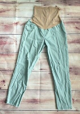 Jessica Simpson Full Pannel Skinny Ankle Distressed Blue Maternity Jegging Small