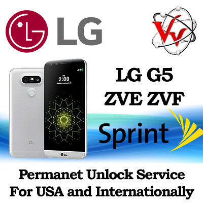 SIM UNLOCK SERVICE SPRINT LG G5 LS992 software version ZVD, ZVE, ZVF  Permanent!