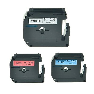3PK MK221 MK421 MK521 Label Tape For Brother P-Touch PT-70 Printer 9mm 3/8""