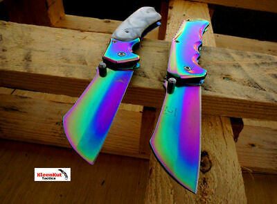 "2 Pc 8"" TACTICAL Spring Assisted Open Pocket Knife Set CLEAVER RAZOR Rainbow"