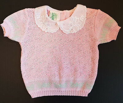 VINTAGE ~ 1970's BABY GIRL KNIT TOP - MAGOR AUSTRALIA ~ COLLECTORS, REBORN DOLLS