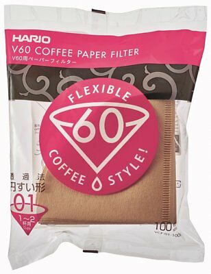 Hario V60 Coffee Paper filter Brown 100 sheets VCF-01-100M 1-4 cups Japan