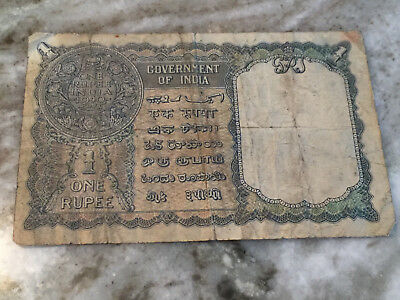 One Rupee Note 1940 Government Of India Old Paper Money Rare Bill Currency