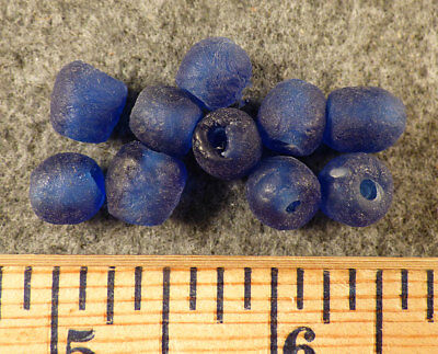 (10) Huron Indian Cobalt Blue Glass Trade Bead Medium Translucent Fur Trade 1840