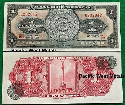 1970 Mexico Banknote 1 Peso UNC CRISP Paper Money Aztec Calendar Independence