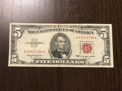 USA 1963 5$ VF Red Seal. United States Note.
