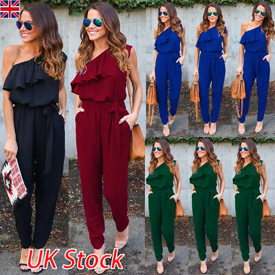 UK Womens One Shoulder Chiffon Jumpsuit Ladies Evening Party Playsuit Size 6-16