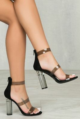 f73d2d7b43e New Open Toe Black Clear Triple Ankle Strap Perspex Lucite High Heel Sandal  Shoe