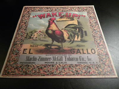 Tobacco Label Caddy Wake up Rooster Chicken Advertising  GALLO MACLIN ZIMMERMAN