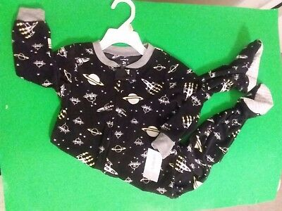 NWT CARTERS Fleece Footed Sleeper, 2T, Black with Space Themed Printt
