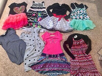 lot girls clothes summer dresses sz L 10/12