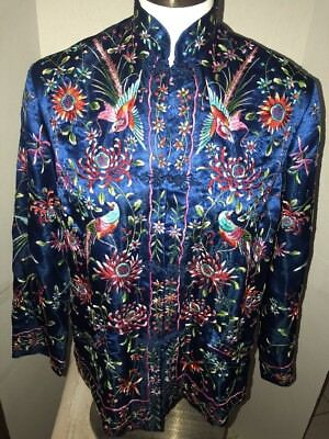 Vtg Plum Blossom Chinese Bright Birds Hand Embroidered Jacket Top 38 Euc