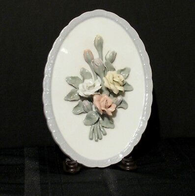 VINTAGE HEREND OVAL Wall Decor With Pink Yellow White Roses Blue ...
