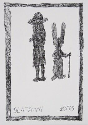 **Charles BLACKMAN ** 'Schoolgirl & Rabbit with a Cane' ORIGINAL ink HAND SIGNED