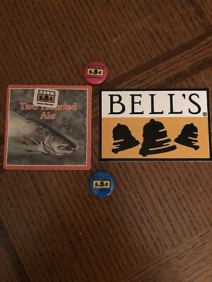 Bells Beer Brewery Sticker, 2 Pins, & Coaster -Two Hearted Logo-Oberon-Cool Lot