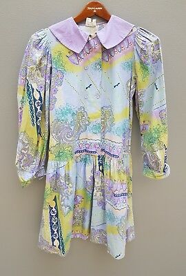 VINTAGE 80s 90s Dress Size 11-12 (Girls) Childs Cotton Flannel Long Sleeved