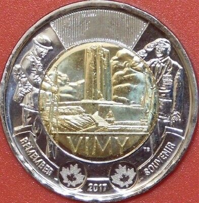 Brilliant Uncirculated 2017 Canada Vimy Toonie From Mint's Roll