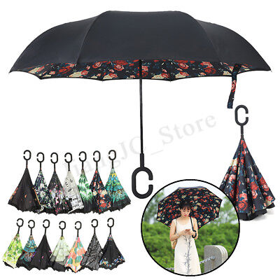 Reverse Umbrella C-Handle Double Layer Waterproof UV Protection Long Upside Down