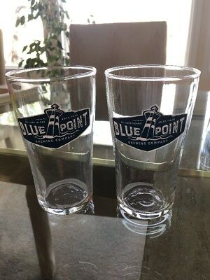 Blue Point Brewing 16 oz Pub Pint Glass New Logo ~ Set of TWO (2) Glasses ~ NEW