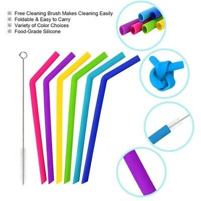 Uarter Silicone straws extra long fit tumbler reusable colorful set food grade