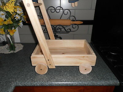 Wooden push a long block trolly suit toddler