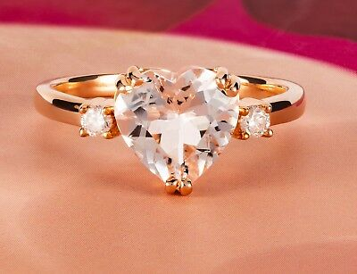 Genuine Morganite Heart Solitaire with Diamonds 14k Solid Rose Gold Ring