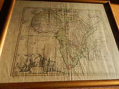 Very Old Illustrated Africae Tabula Map/africa Fair Condition W Frame Intnl Sale