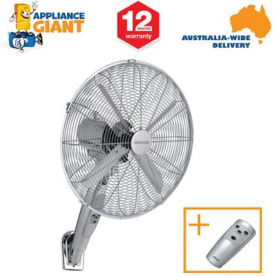 Heller RWF40 40cm Silver Metal Wall Fan with Remote Control + 8 Hour Timer