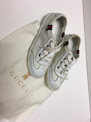 32aab229d0a Authentic Kids Gucci White Sneaker Tennis Shoes Size 20