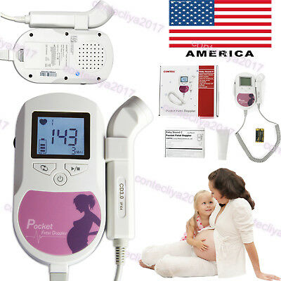 USA Fetal Doppler Baby Heart Rate FHR Monitor 3MHz Probe LCD Pocket Prenatal,Gel
