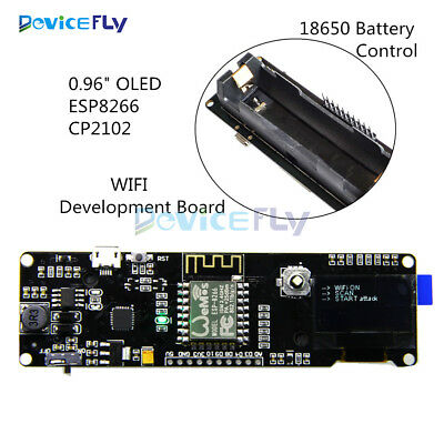 0.96''OLED ESP-12F ESP8266 WIFI Development Board CP2102+Micro USB 18650 Battery