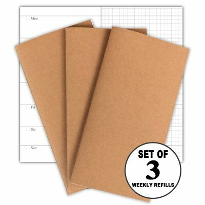 Travelers Notebook Inserts 3-Pack Weekly Planner Refills, 30 Weeks Per Book, No
