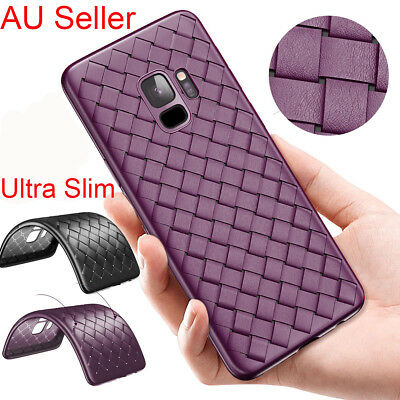 For Samsung Galaxy S9 Plus Ultra Slim Thin Soft Weave Luxury Leather Case Cover