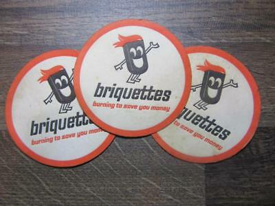 """1980's Circa Briquettes """"Burning to Save you Money"""" Drinks Coasters X 3."""