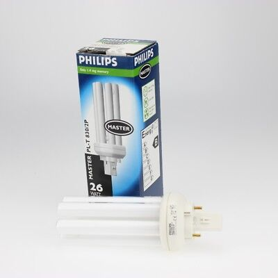 2 Stück Energiesparlampe G24d-3 230V 26W-830 2Pin  Philips Master PL-C 2P