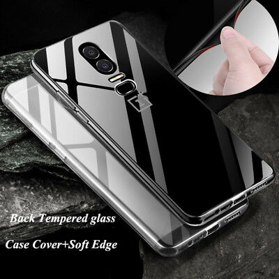 Back Tempered Glass+Silicone Edge Shockproof Cover Case Skin For Oneplus 6