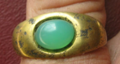Roman Brass Ring w/ Beautiful Green Stone ( Found in Balkans ) Must see !!!