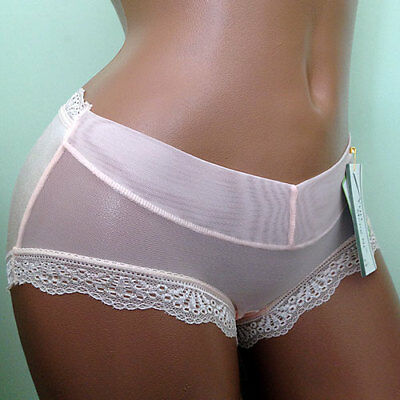 Womens Pretty Lace Bamboo Soft Sexy See Thru French Knickers Panties XS 6 - 8