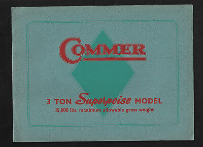 1939 COMMER 3 TON SUPERPOISE TRUCK 14 page sales brochure