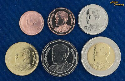 New 2018 Thailand King Rama X (10) 6 Coin Set Bimetallic Uncirculated Unc