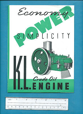 KL MODEL TWO CYCLE CRUDE OIL ENGINE 4 page brochure