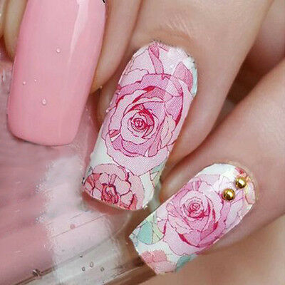 14Pcs/Sheet Nail Wraps Floral Pink Roses Nail Art Full Stickers Decals MDS1014
