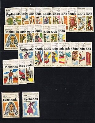 Australian REDHEAD MATCHBOX LABELS COSTUME SERIES USED SELECTION -29 OFF BRYMAY