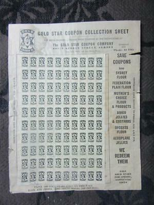1940's Circa Gold Star Coupon Collection Sheet George St. Syd.For Household Adv.